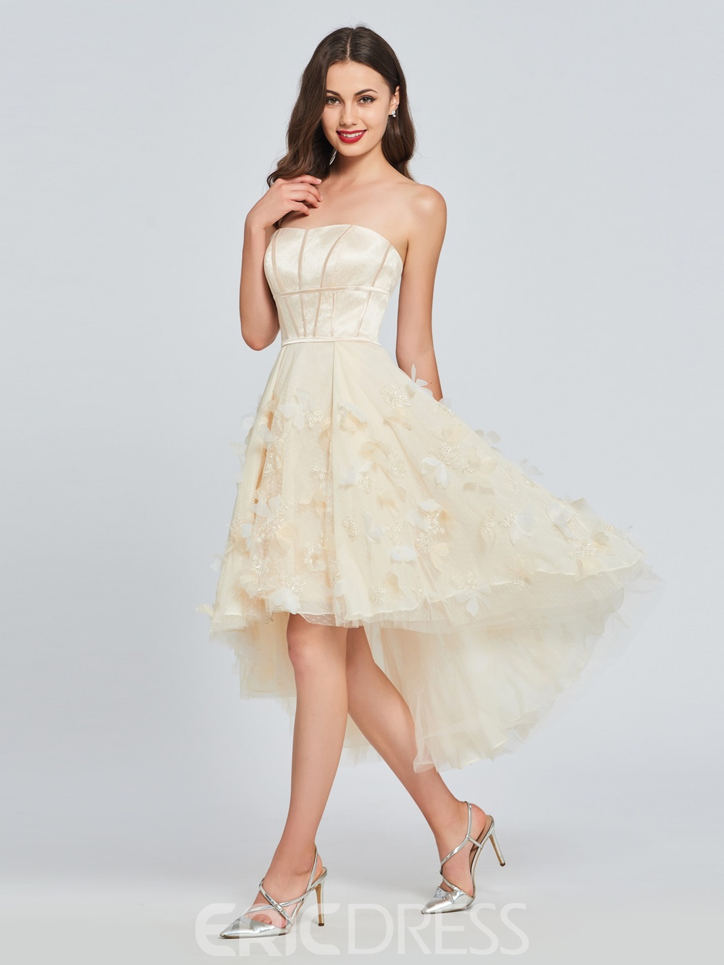Ericdress A Line Strapless High Low Homecoming Dress