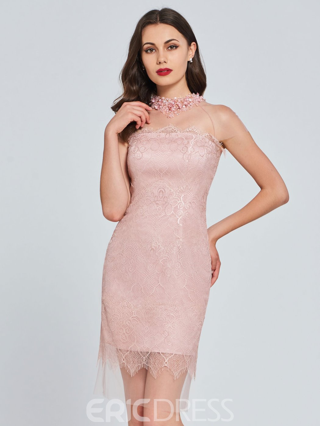 Ericdress Sheath High Neck Lace Bodycon Homecoming Dress