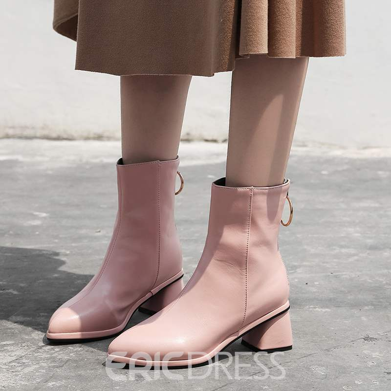 Ericdress Back Zip Pointed Toe Chunky Heel Women's Boots