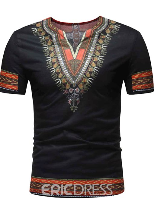 Ericdress African Fashion Dashiki Printed Slim Mens Short Sleeve T Shirt