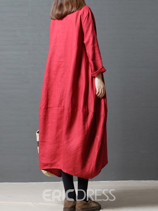 Ericdress Long Sleeves Pocket Spring Dress