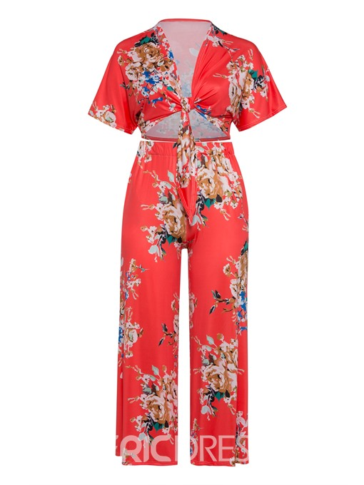 Ericdress Plus Size Floral Print Travel Look Wide Legs T-Shirt And Pants Two Piece Sets