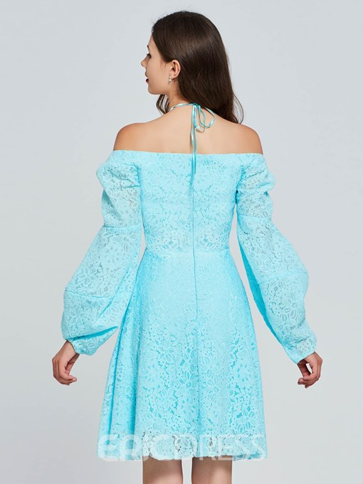 Ericdress A Line Off The Shoulder Long Sleeve Lace Homecoming Dress