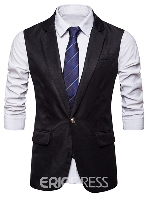 Ericdress Plain One Button Mens Casual Dress Vest