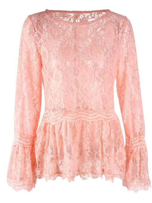 Ericdress Flare Sleeve See-Through Round Neck Sexy Blouse