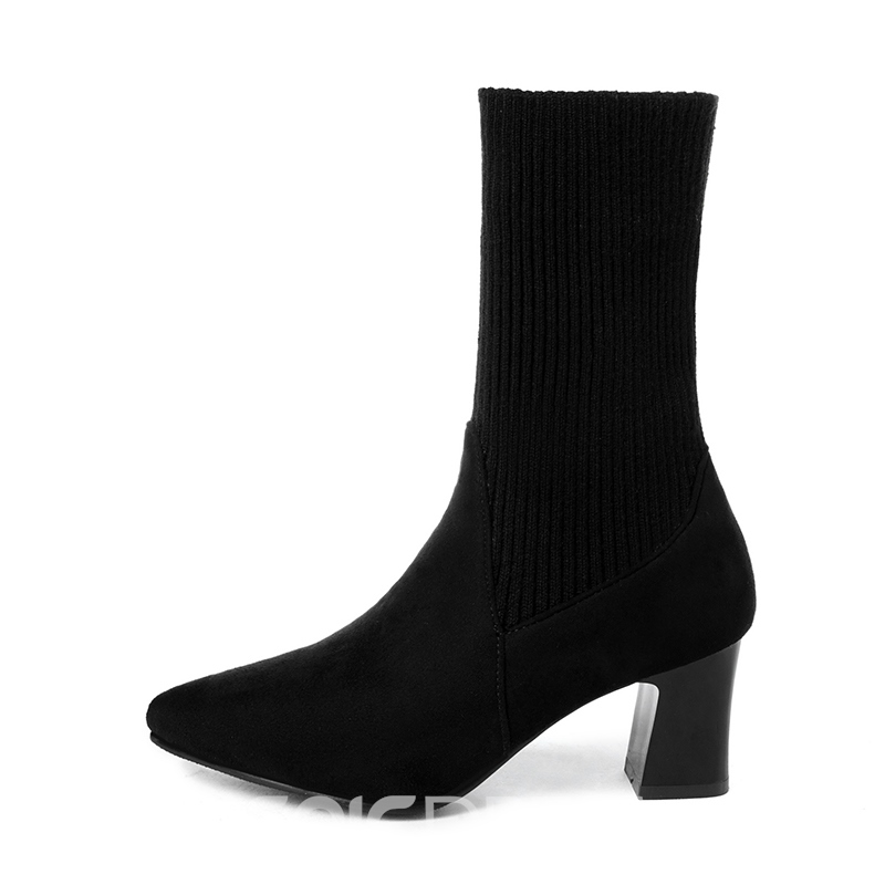 Ericdress Patchwork Pointed Toe Chunky Heel Women's Boots