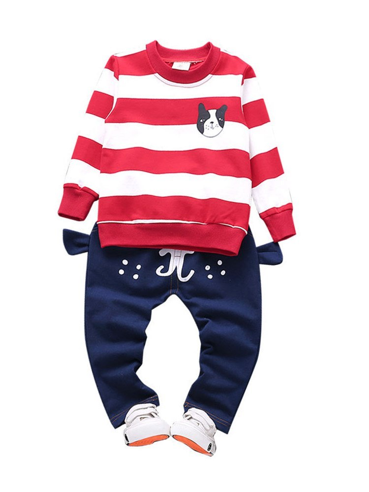 Ericdress Striped Hoodie & Cartoon Printed Pants Baby Boy's Outfits