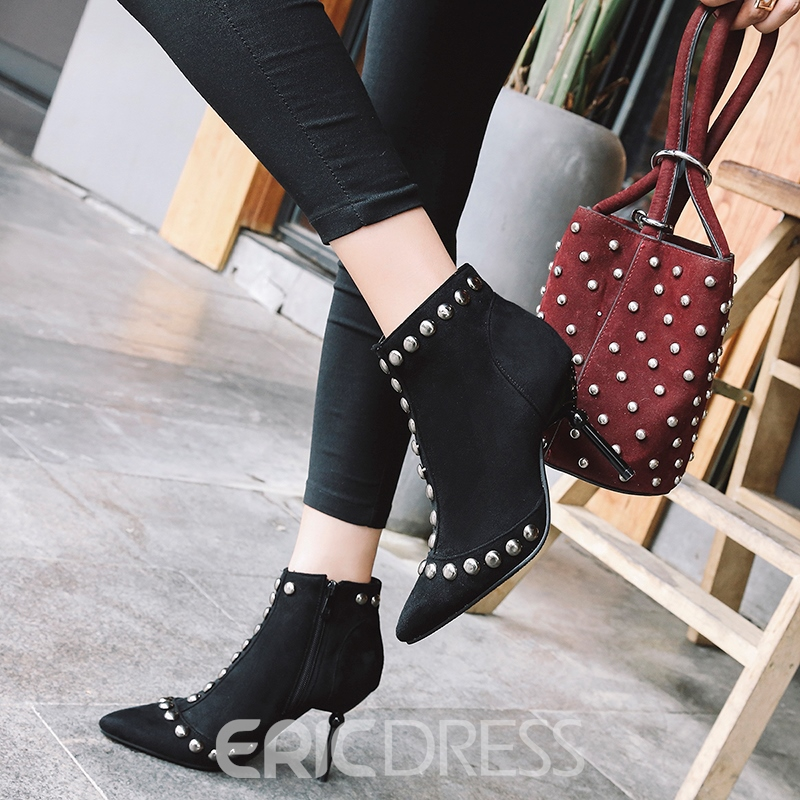 Ericdress Pointed Toe Side Zipper Women's Ankle Boots