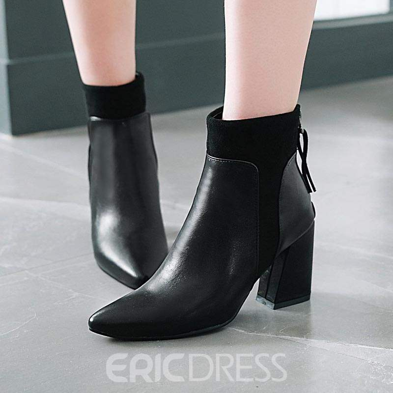 Ericdress Patchwork Back Zip Chunky Heel Women's Ankle Boots