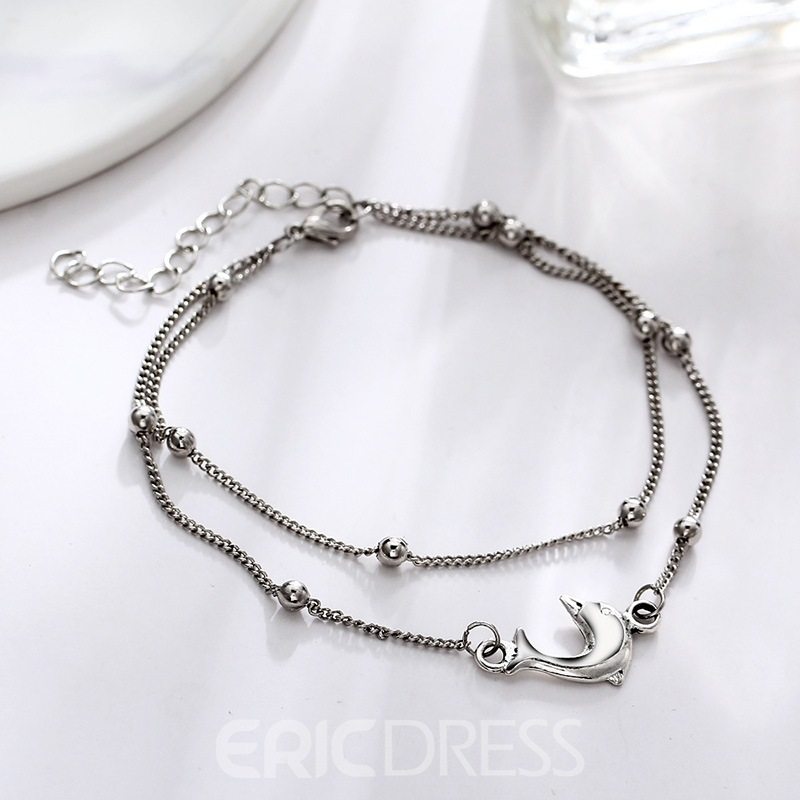Ericdress Dolphin Double Chain Anklet