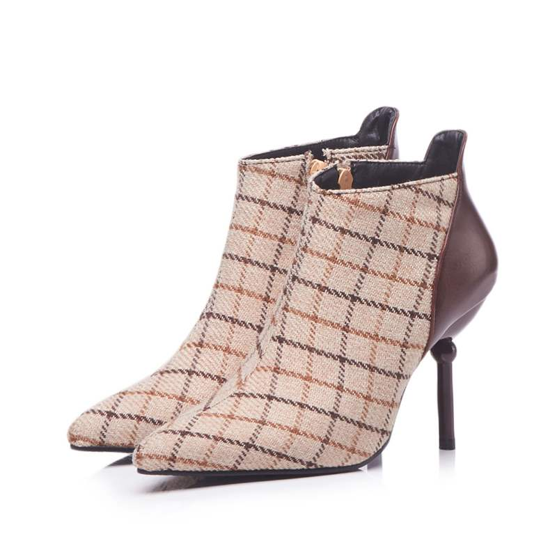 Ericdress Patchwork Pointed Toe Stiletto Heel Women's Boots