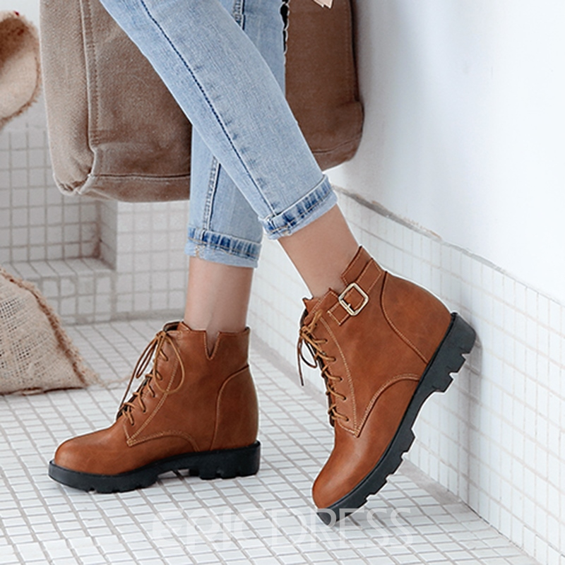 Ericdress Lace-Up Front Block Heel Women's Boots