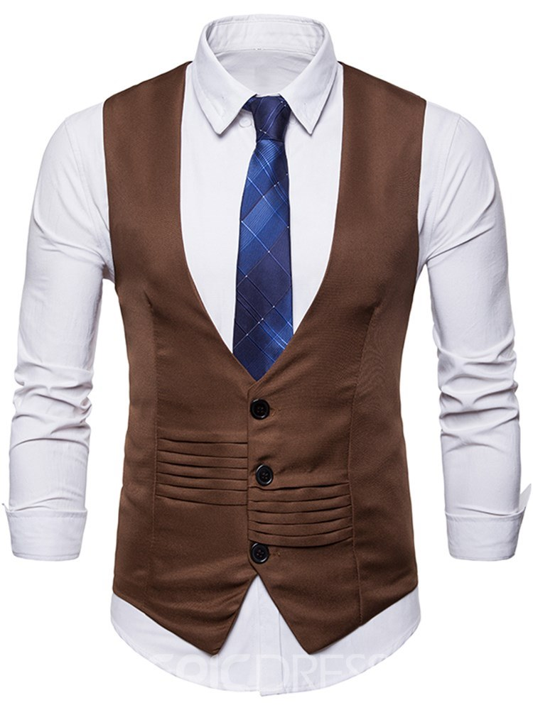 Ericdress Plain Pleated Button Mens Casual Dress Vest