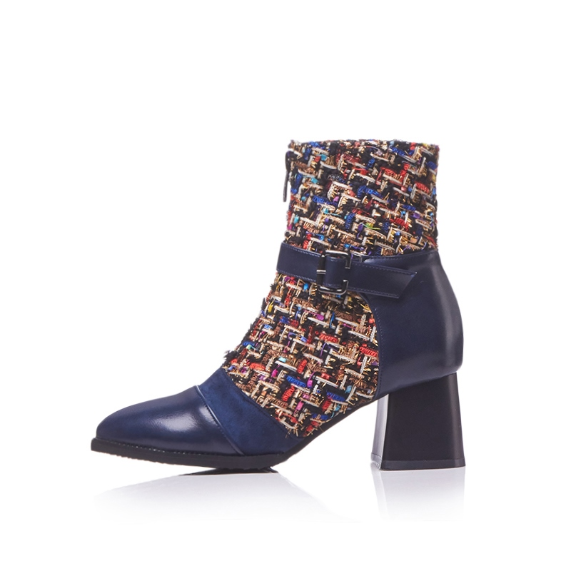 Ericdress Patchwork Pointed Toe Chunky Heel Women's Ankle Boots