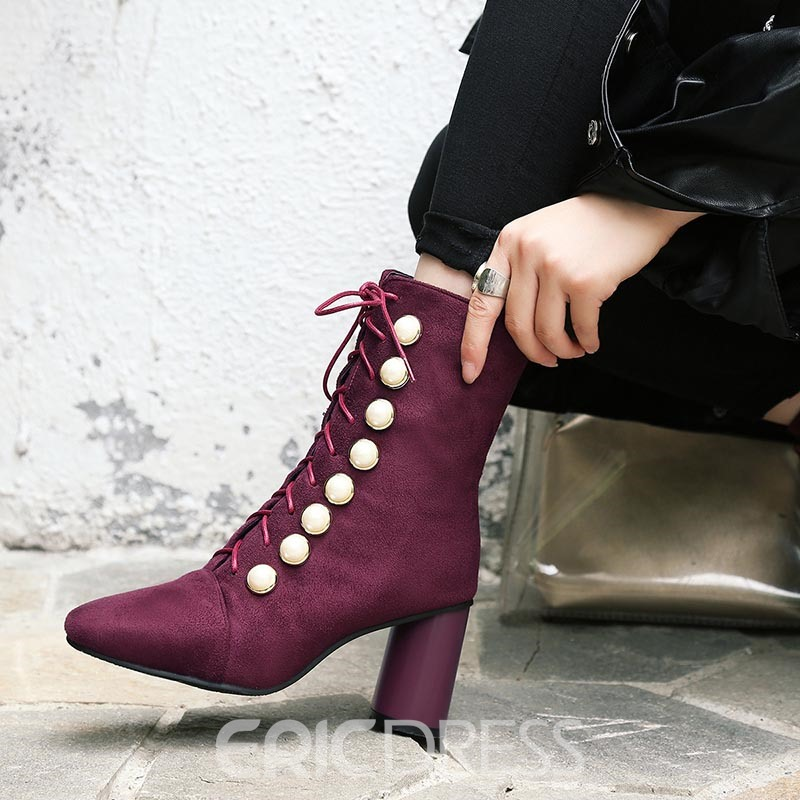 Ericdress Beads Side Zipper Chunky Heel Women's Ankle Boots