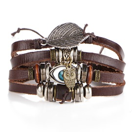 Ericdress Leather Evil Eyes Leaf Fashion Bracelet
