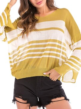Ericdress Loose Stripe Color Block Knitwear