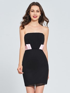 Ericdress Sheath Strapless Black Bodycon Homecoming Dress