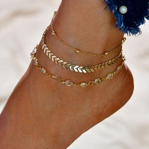 Ericdress Layered Golden Anklet