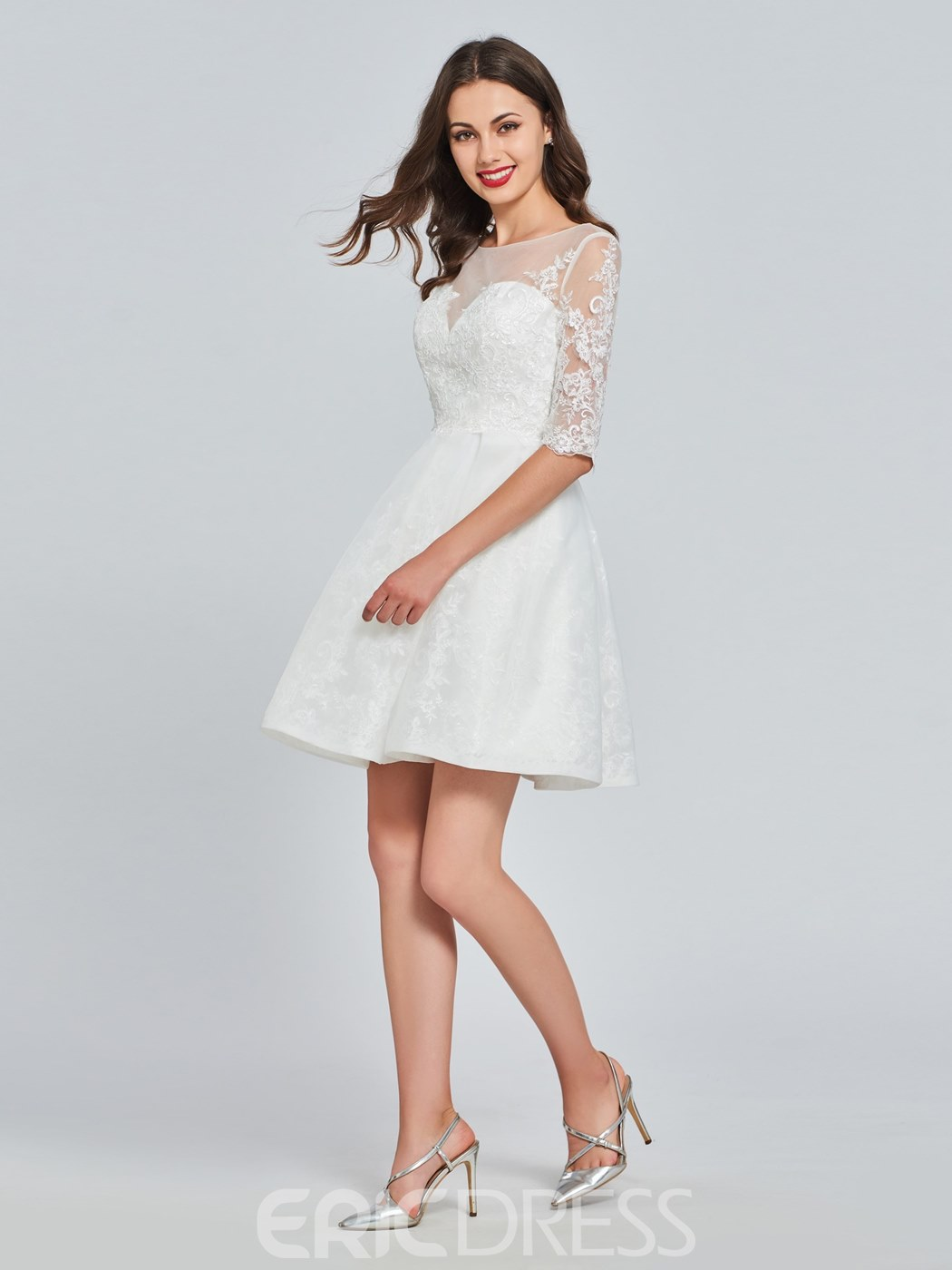 Ericdress A Line Applique Short Homecoming Dress With Half Sleeve