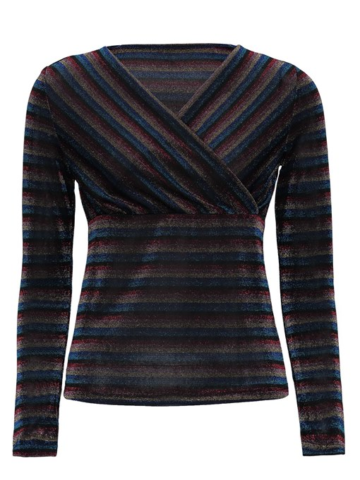 Ericdress Nine Points Sleeve Stripe V-Neck Women's T-Shirt