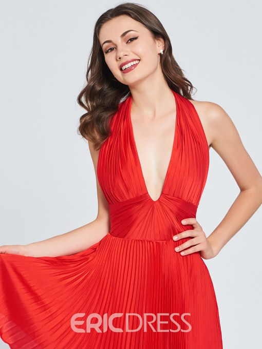 Ericdress A Line Halter Backless Red Homecoming Dress