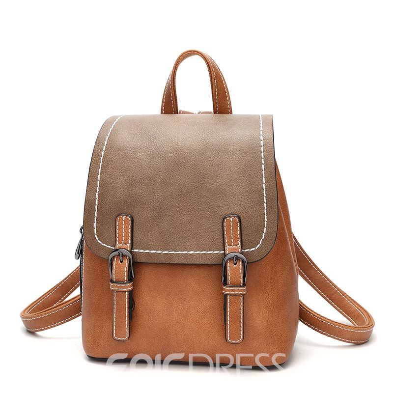 Ericdress Color Block Belt Decorated Women Backpack
