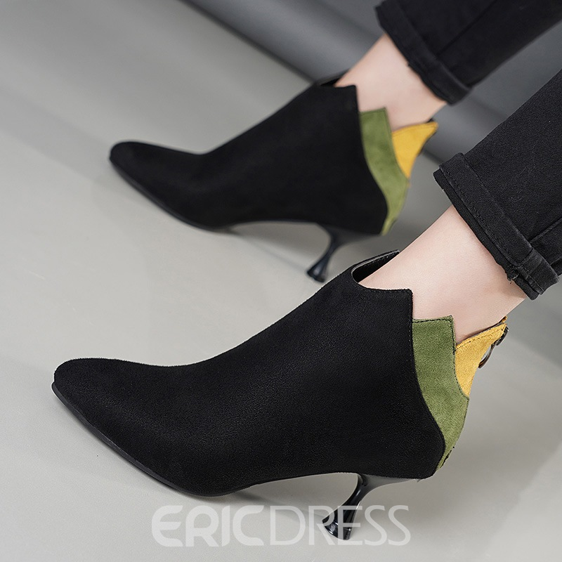 Ericdress Patchwork Side Zipper Kitten Heel Women's Ankle Boots