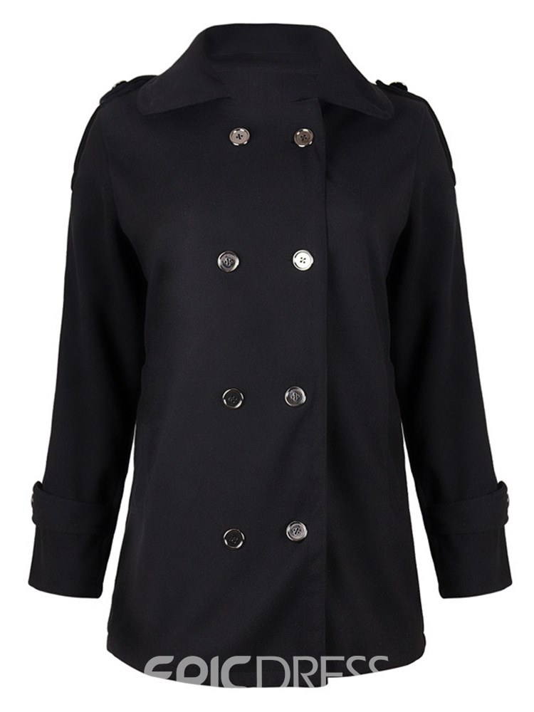 Ericdress Double-Breasted Plain Pocket Coat