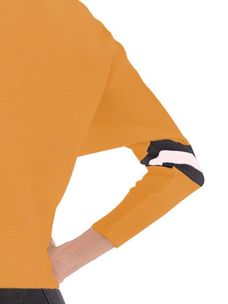 Ericdress Color Block Short Casual Batwing Sleeve Knitwear