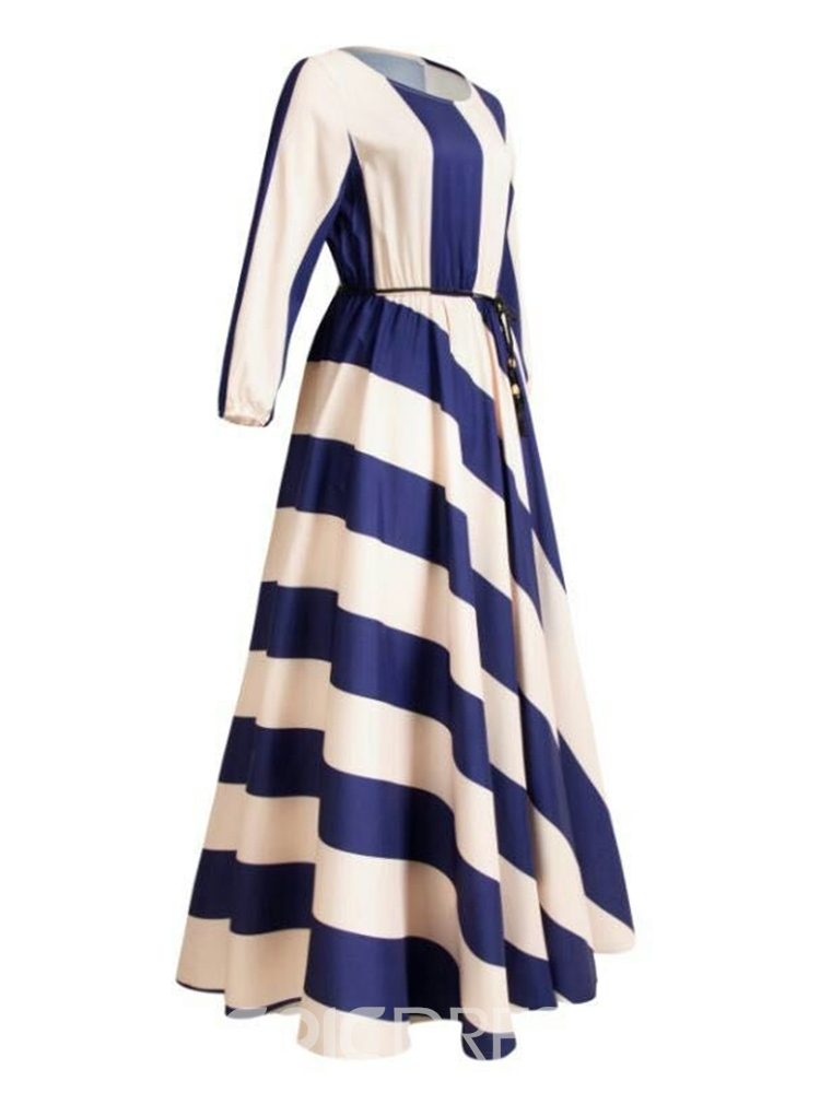 Ericdress Striped Ankle-Length Color Block Three-Quarter Sleeve Dress