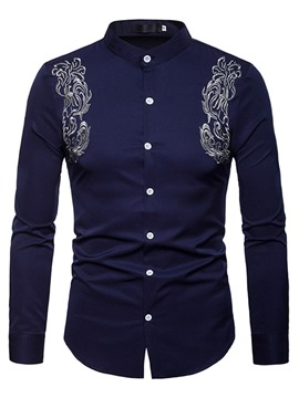 Ericdress Slim Stand Collar Floral Embroidery Mens Casual Shirts