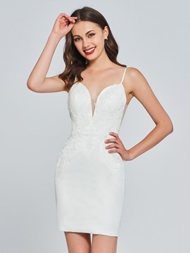 Ericdress Sheath Spaghetti Straps White Bodycon Homecoming Dress