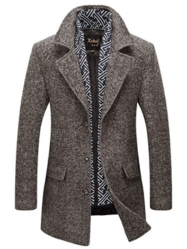Ericdress Plain Slim Mid-length Thick Mens Woolen Coats