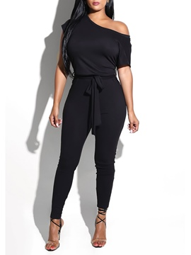 Ericdress Asymmetric Lace-Up Plain Women's Jumpsuits