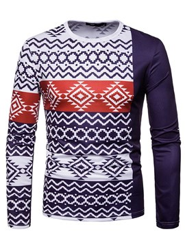 Ericdress Dashiki Geometric Printed Slim Mens Scoop T Shirts