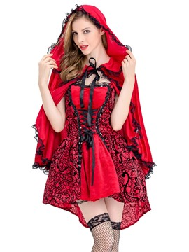 Ericdress Little Red Riding Hood Lace-Up Cosplay Halloween Costume