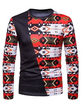 Ericdress Geometric Print Patchwork Mens Slim T Shirts