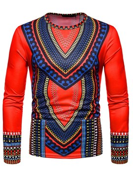 Ericdress African Print Color Block Mens Scoop T Shirts