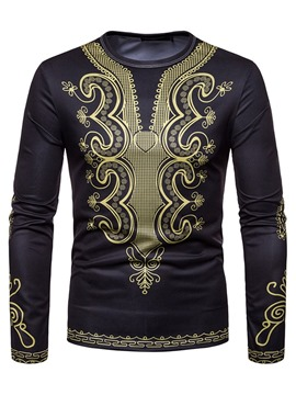 Ericdress Slim Dahiki African Printed Scoop Long Sleeve Mens T Shirts