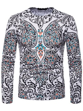 Ericdress Geometric Ethnic Print Mens Slim Scoop Casual T Shirts