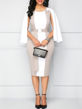 Ericdress Bodycon Color Block Office Lady Women's Dress