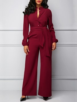 Ericdress Plain Slim Long Sleeve Women's Jumpsuits