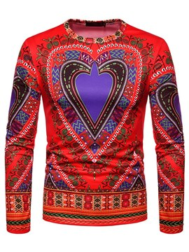 Ericdress African Floral Print Slim Scoop Mens Casual T Shirts