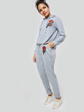 Ericdress Loose Floral Embroidery Plain Casual Pants