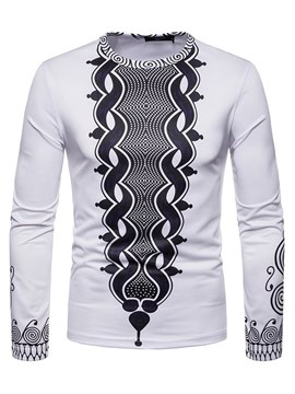 Ericdress Dashiki Printed Slim Scoop Mens Casual Long Sleeve T Shirts