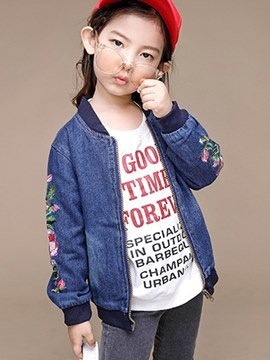 Ericdress Floral Embroidery Print Stand Collar Girl's Casual Jacket