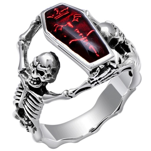 Ericdress Bronze Two Skull Men's Ring