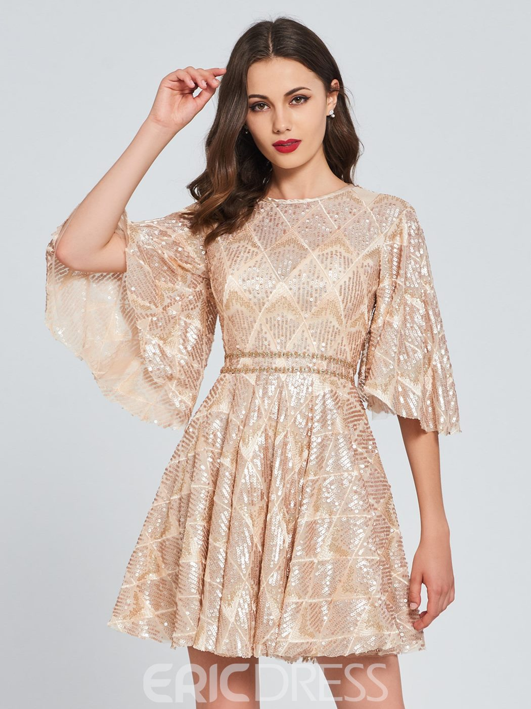 Ericdress A Line Lace Short Homecoming Dress With Half Sleeve