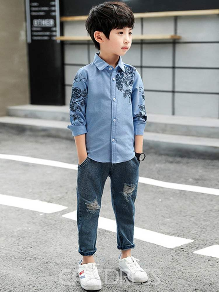 Ericdress Floral Print Slim Lapel Boy's Casual Shirts